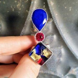 Ring Silver, Semi Precious Stones and Murano glass